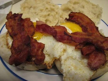Bacon Egg O'Muffin, open configuration