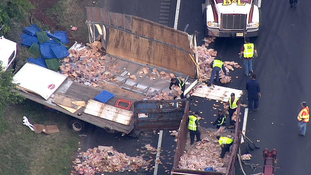 Aerial view of deli truck collision, from NBC News